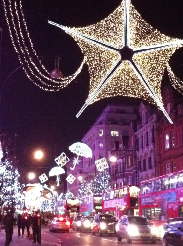 London lights sparkle in the Christmas lead up.
