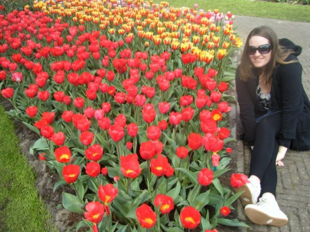 Lauren at Keukenhof Flower Garden.