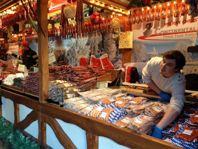 German meats among the eclectic Christmas treats at the market.