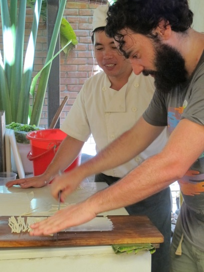Brendan gives noodle making at Morning Glory a go. It's not as easy as it looks.